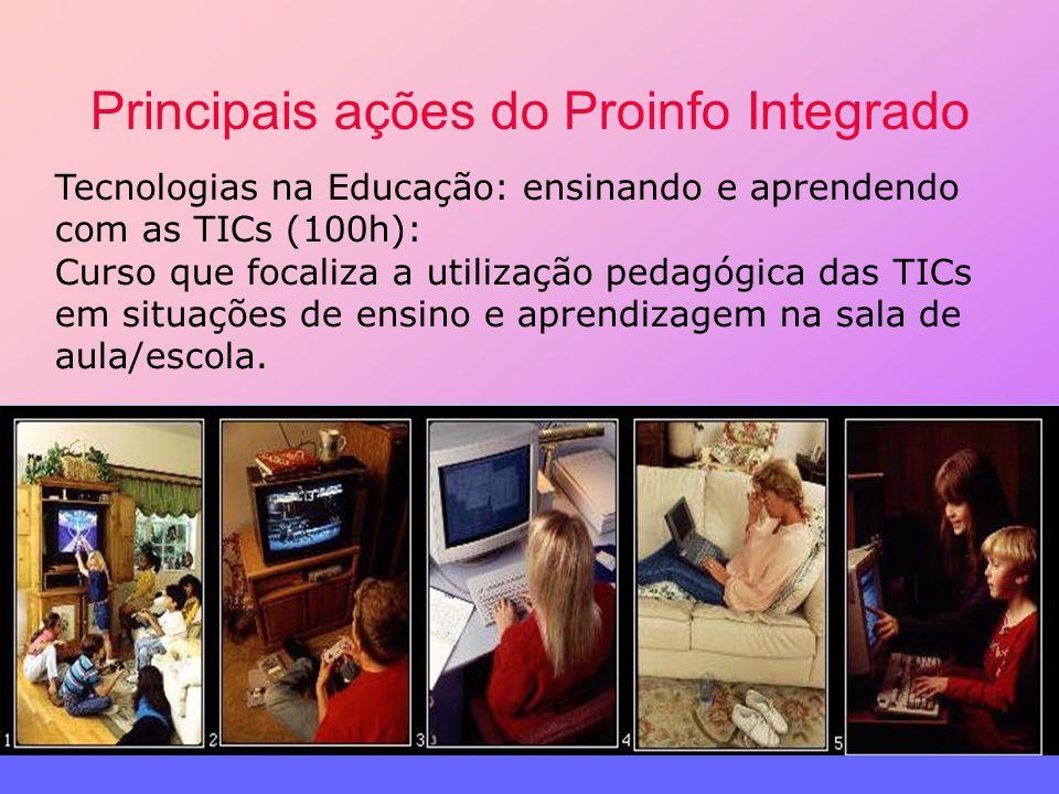 Principais ações do Proinfo Integrado Tecnologias na Educação: ensinando e aprendendo com as TICs (100h): Curso que focaliza a utilização pedagógica d