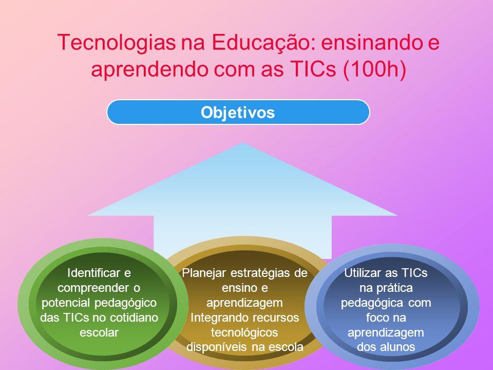 Objetivos Tecnologias na Educação: ensinando e aprendendo com as TICs (100h) Identificar e compreender o potencial pedagógico das TICs no cotidiano es