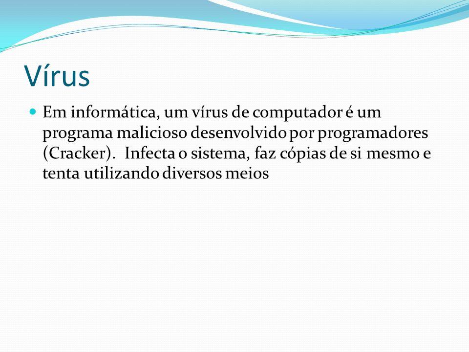 Vírus Em informática, um vírus de computador é um programa malicioso desenvolvido por programadores (Cracker). Infecta o sistema, faz cópias de si mes