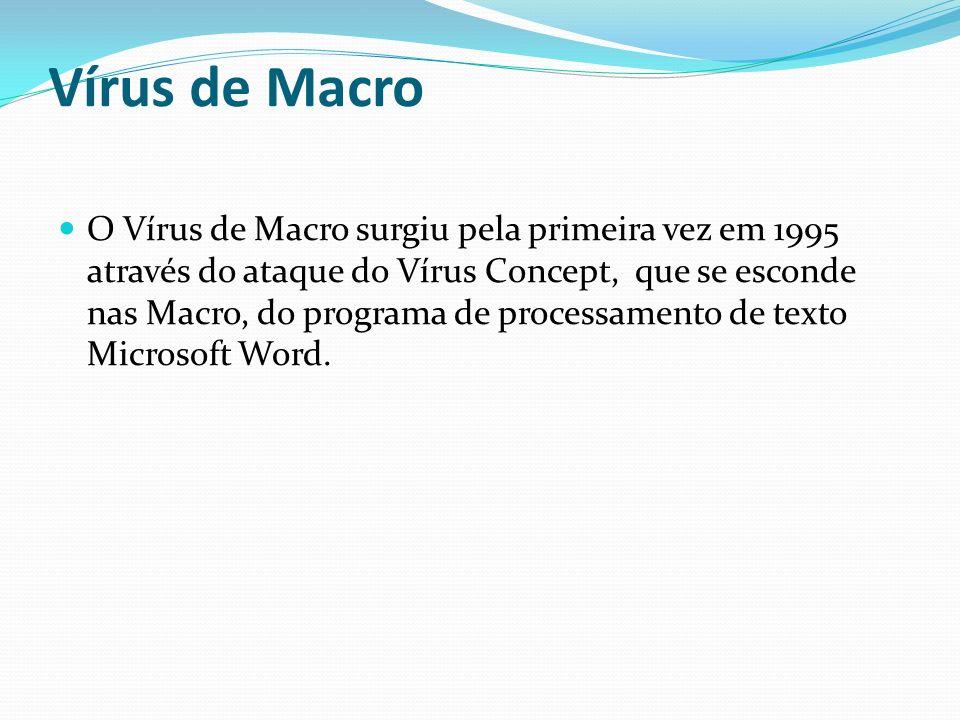 Vírus de Macro O Vírus de Macro surgiu pela primeira vez em 1995 através do ataque do Vírus Concept, que se esconde nas Macro, do programa de processa