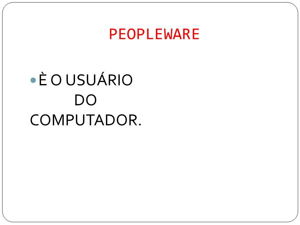 PEOPLEWARE È O USUÁRIO DO COMPUTADOR.