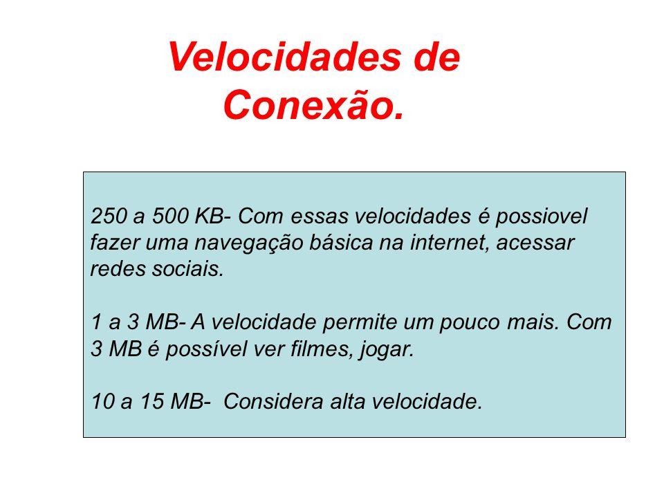 Velocidades de Conexão. 250 a 500 KB- Com essas velocidades é possiovel fazer uma navegação básica na internet, acessar redes sociais. 1 a 3 MB- A vel