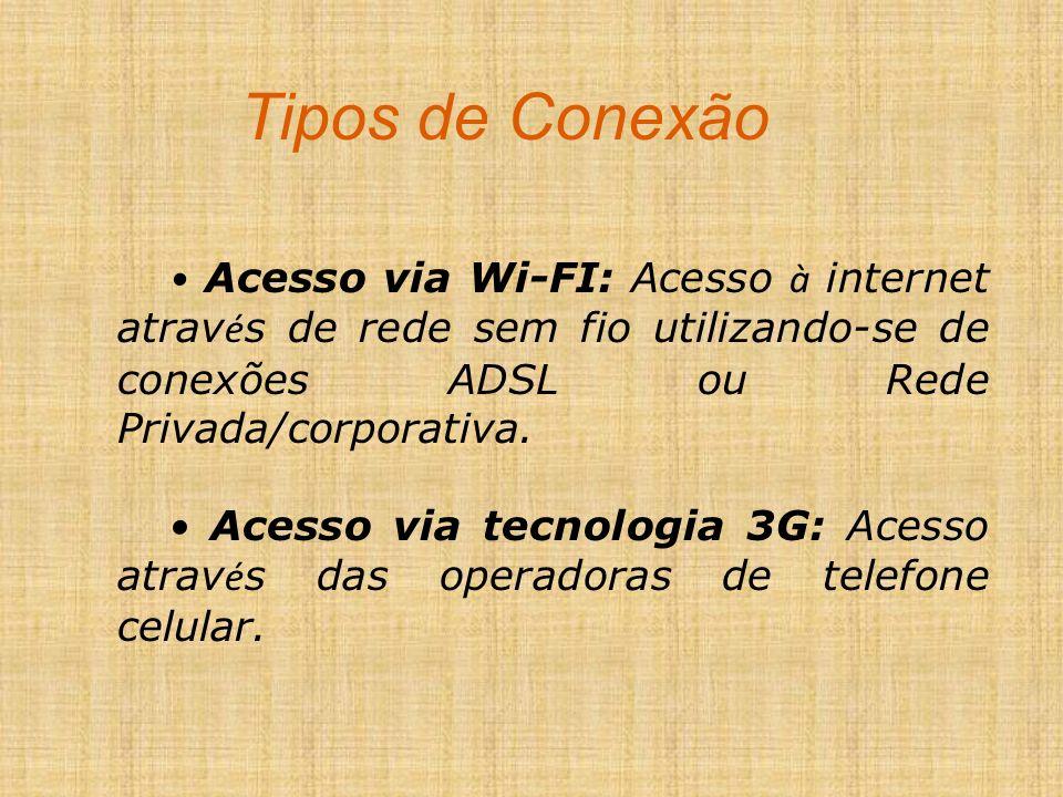Tipos de Conexão Acesso via Wi-FI: Acesso à internet atrav é s de rede sem fio utilizando-se de conexões ADSL ou Rede Privada/corporativa. Acesso via