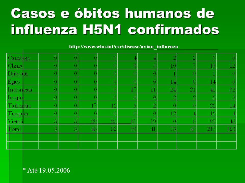 Casos e óbitos humanos de influenza H5N1 confirmados http://www.who.int/csr/disease/avian_influenza * Até 19.05.2006