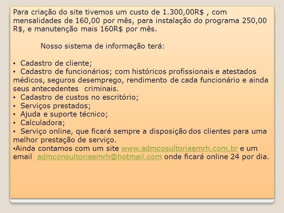 Para criação do site tivemos um custo de 1.300,00R$, com mensalidades de 160,00 por mês, para instalação do programa 250,00 R$, e manutenção mais 160R