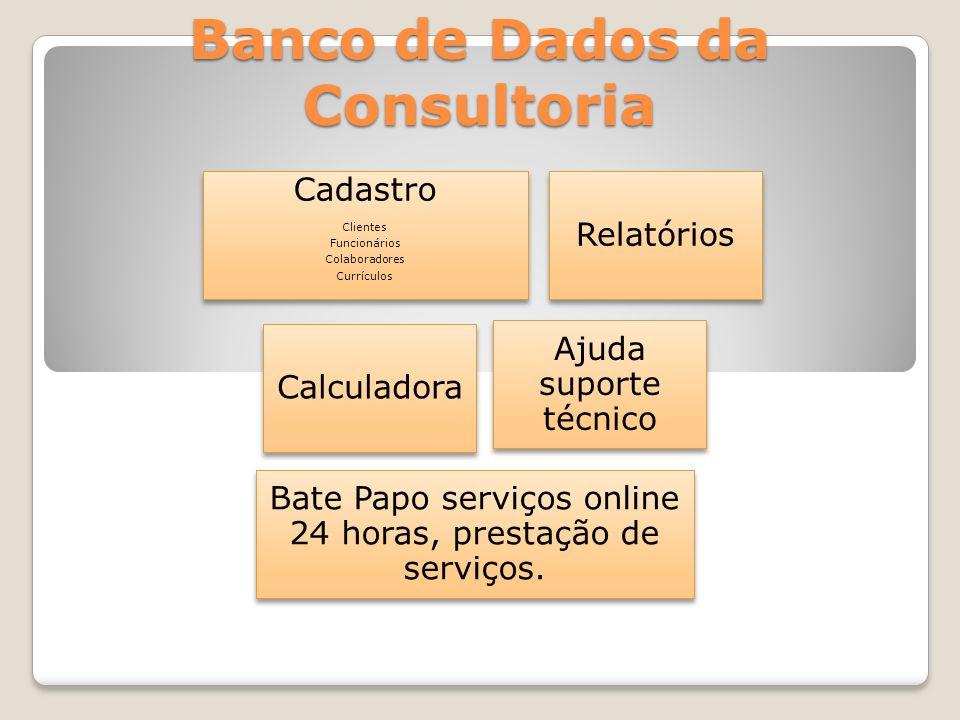 Banco de Dados da Consultoria Cadastro Clientes Funcionários Colaboradores Currículos Relatórios Calculadora Ajuda suporte técnico Bate Papo serviços online 24 horas, prestação de serviços.