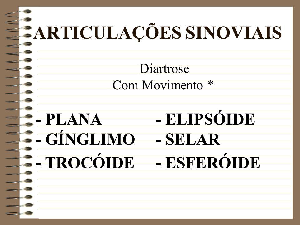 ARTICULAÇÕES SINOVIAIS Diartrose Com Movimento * - PLANA - ELIPSÓIDE - GÍNGLIMO- SELAR - TROCÓIDE- ESFERÓIDE