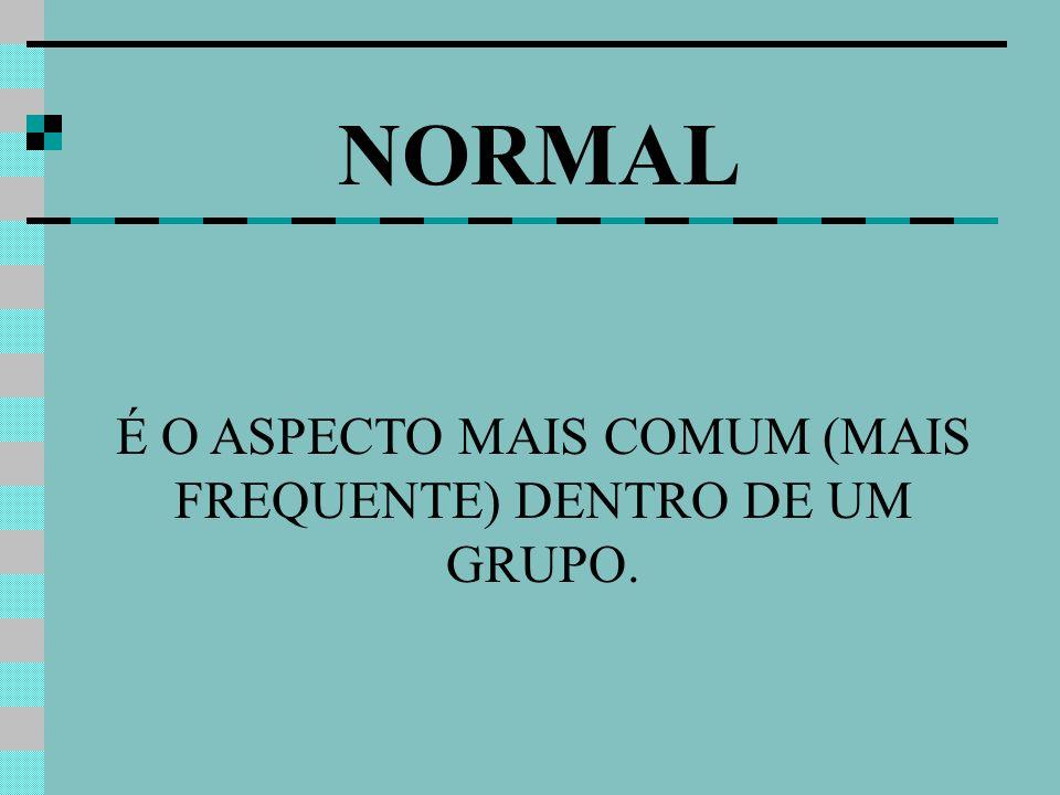 NORMAL É O ASPECTO MAIS COMUM (MAIS FREQUENTE) DENTRO DE UM GRUPO.