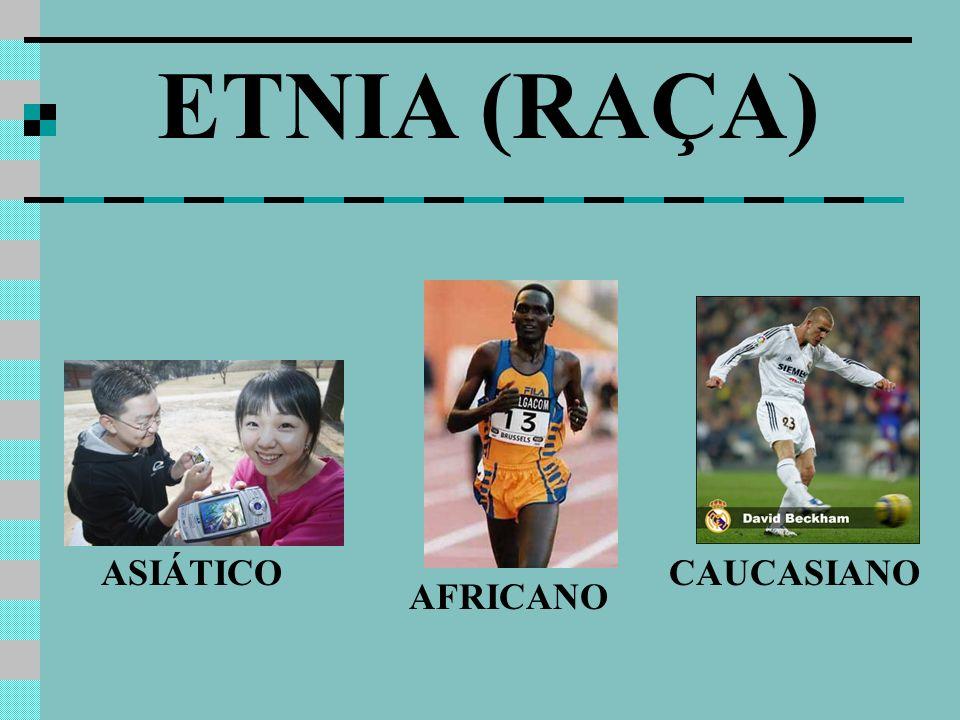 ETNIA (RAÇA) ASIÁTICO AFRICANO CAUCASIANO