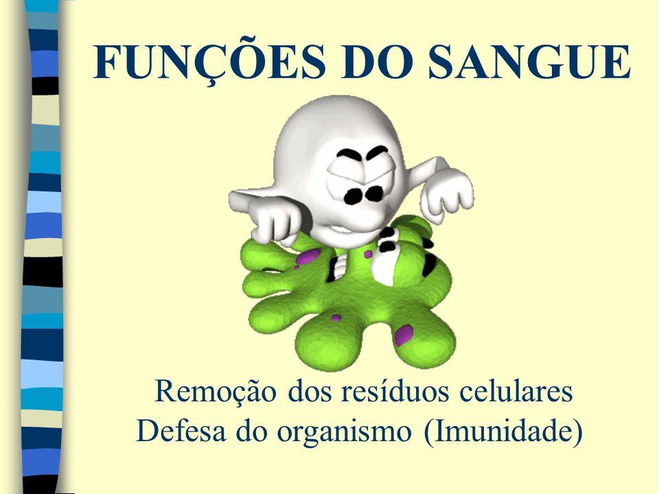 FUNÇÕES DO SANGUE Remoção dos resíduos celulares Defesa do organismo (Imunidade)