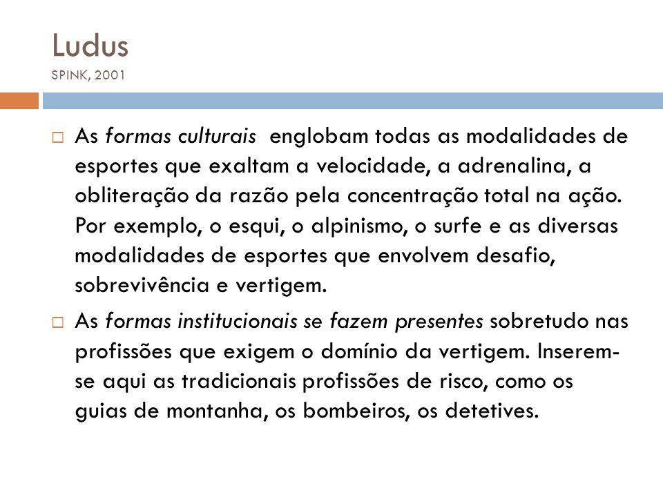 Ludus SPINK, 2001 As formas culturais englobam todas as modalidades de esportes que exaltam a velocidade, a adrenalina, a obliteração da razão pela co