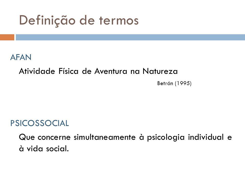 Definição de termos AFAN Atividade Física de Aventura na Natureza Betrán (1995) PSICOSSOCIAL Que concerne simultaneamente à psicologia individual e à