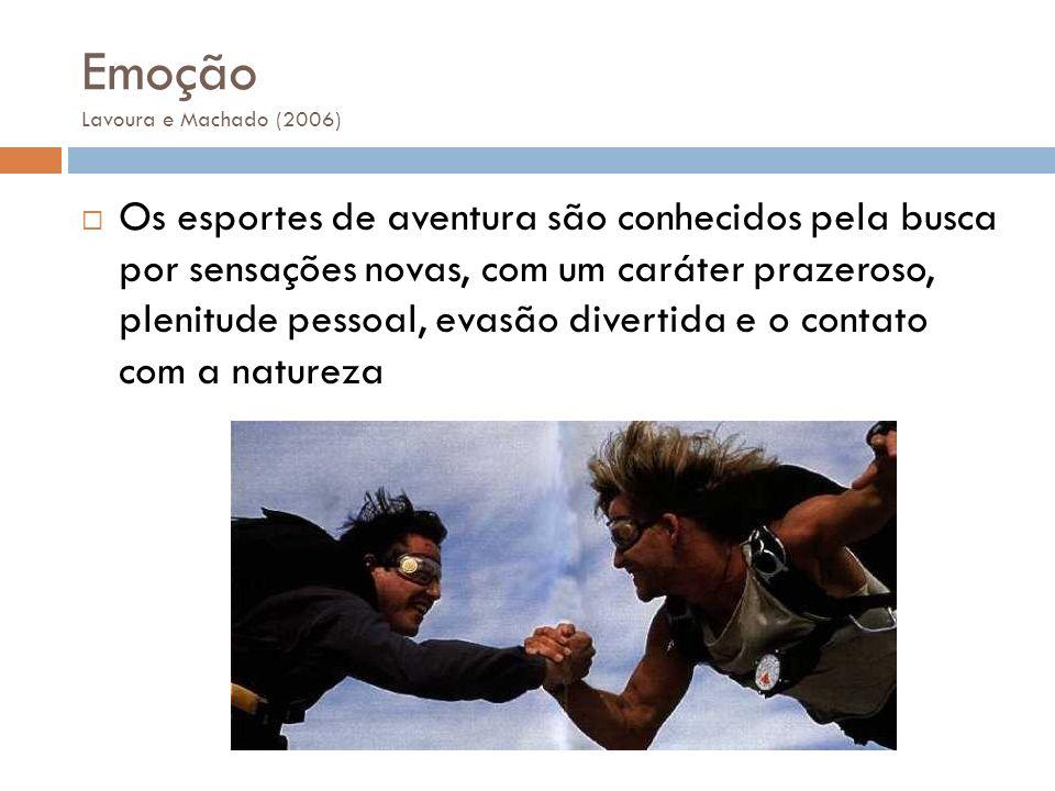 Emoção Lavoura e Machado (2006) Os esportes de aventura são conhecidos pela busca por sensações novas, com um caráter prazeroso, plenitude pessoal, ev