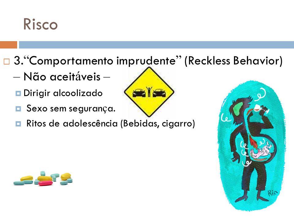 Risco 3. Comportamento imprudente (Reckless Behavior) – Não aceit á veis – Dirigir alcoolizado Sexo sem seguran ç a. Ritos de adolescência (Bebidas, c