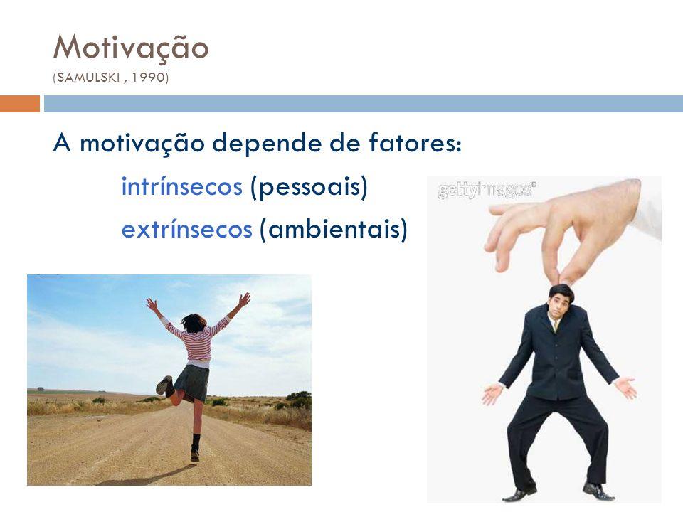 Motivação (SAMULSKI, 1990) A motivação depende de fatores: intrínsecos (pessoais) extrínsecos (ambientais)
