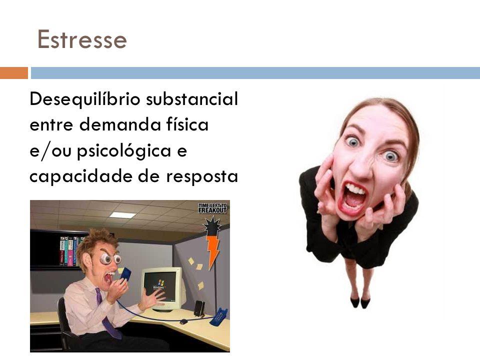 Estresse Desequilíbrio substancial entre demanda física e/ou psicológica e capacidade de resposta