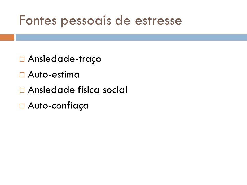 Fontes pessoais de estresse Ansiedade-traço Auto-estima Ansiedade física social Auto-confiaça