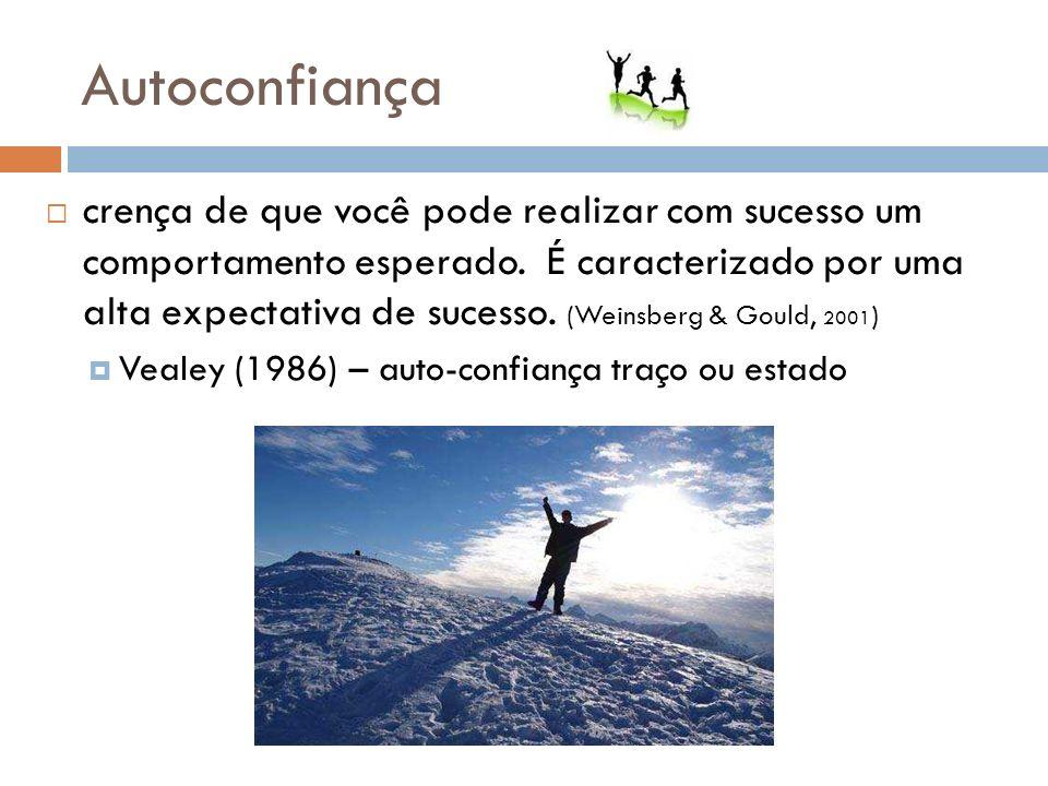 Autoconfiança crença de que você pode realizar com sucesso um comportamento esperado. É caracterizado por uma alta expectativa de sucesso. (Weinsberg