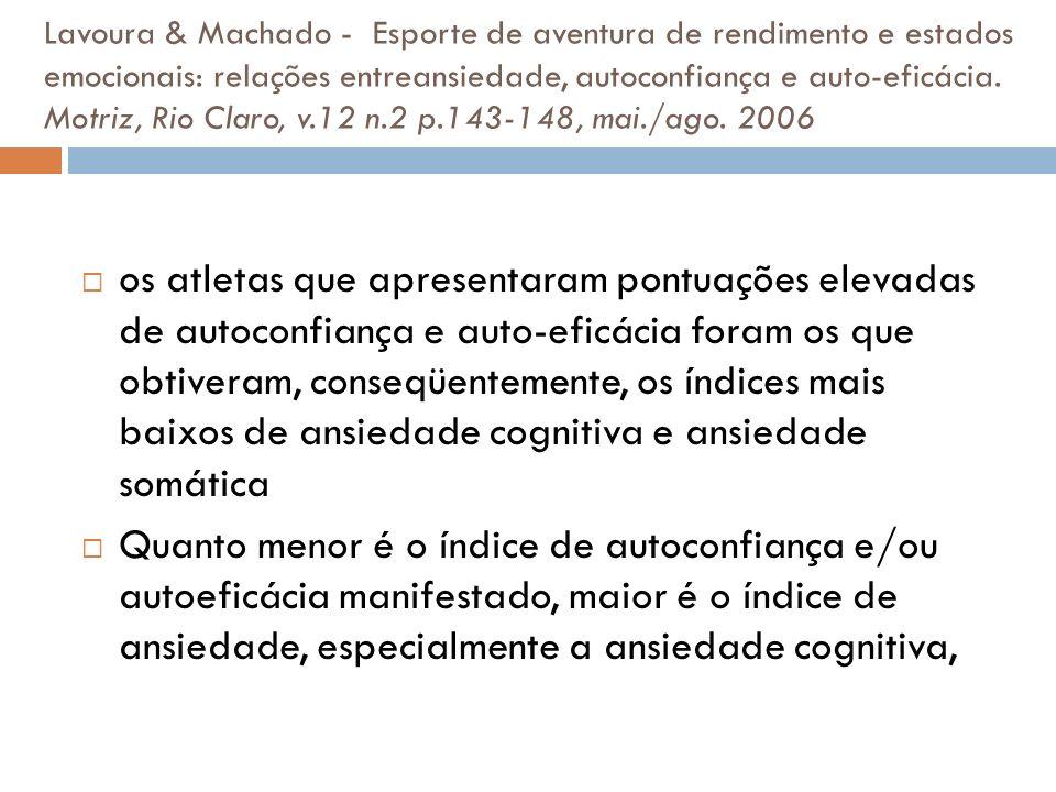 Lavoura & Machado - Esporte de aventura de rendimento e estados emocionais: relações entreansiedade, autoconfiança e auto-eficácia. Motriz, Rio Claro,
