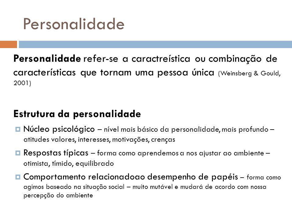 Personalidade Personalidade refer-se a caractreística ou combinação de características que tornam uma pessoa única (Weinsberg & Gould, 2001) Estrutura