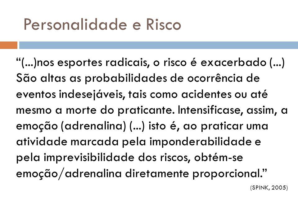 Personalidade e Risco (...)nos esportes radicais, o risco é exacerbado (...) São altas as probabilidades de ocorrência de eventos indesejáveis, tais c