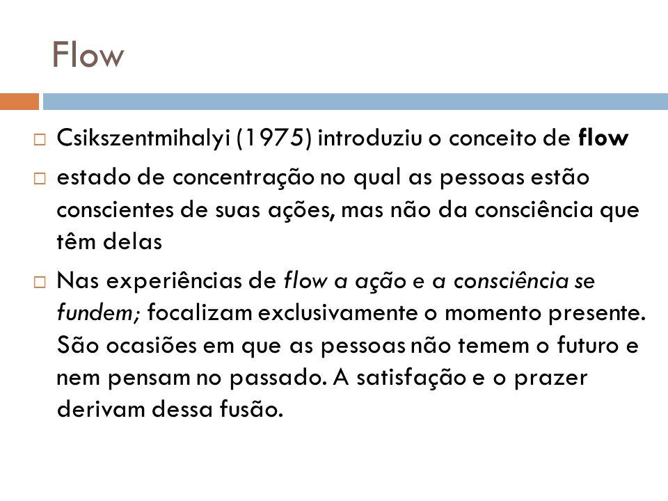 Flow Csikszentmihalyi (1975) introduziu o conceito de flow estado de concentração no qual as pessoas estão conscientes de suas ações, mas não da consc
