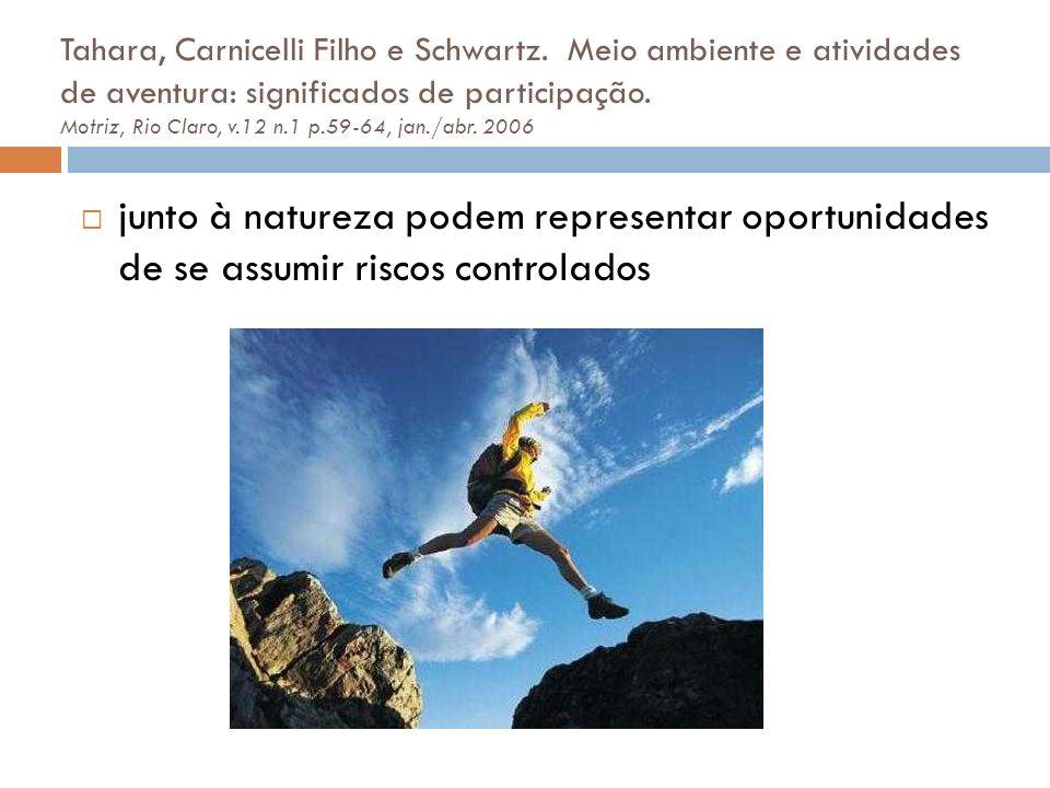 junto à natureza podem representar oportunidades de se assumir riscos controlados Tahara, Carnicelli Filho e Schwartz. Meio ambiente e atividades de a