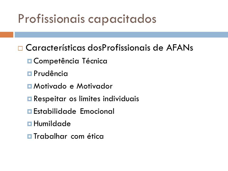 Profissionais capacitados Características dosProfissionais de AFANs Competência Técnica Prudência Motivado e Motivador Respeitar os limites individuai