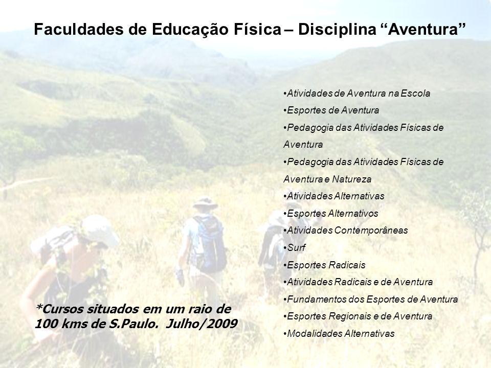 Faculdades de Educação Física – Disciplina Aventura *Cursos situados em um raio de 100 kms de S.Paulo. Julho/2009 Atividades de Aventura na Escola Esp