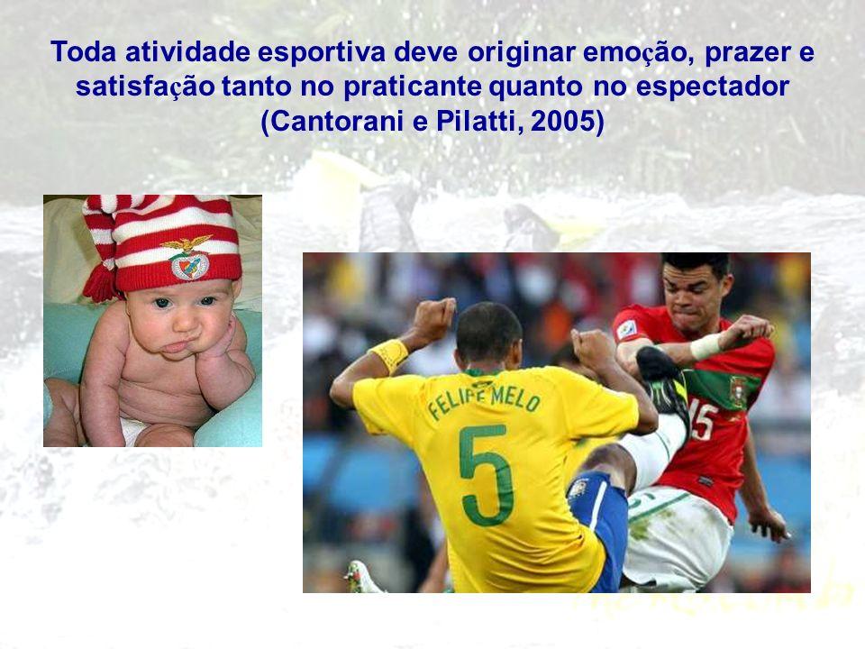 Toda atividade esportiva deve originar emo ç ão, prazer e satisfa ç ão tanto no praticante quanto no espectador (Cantorani e Pilatti, 2005)
