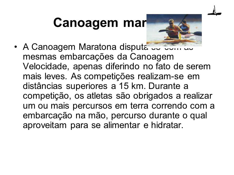 A Canoagem Maratona disputa-se com as mesmas embarcações da Canoagem Velocidade, apenas diferindo no fato de serem mais leves. As competições realizam