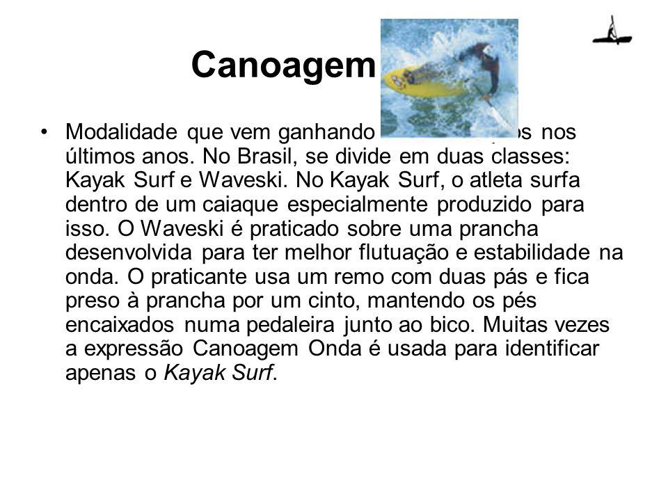 Canoagem onda Modalidade que vem ganhando muitos adeptos nos últimos anos. No Brasil, se divide em duas classes: Kayak Surf e Waveski. No Kayak Surf,