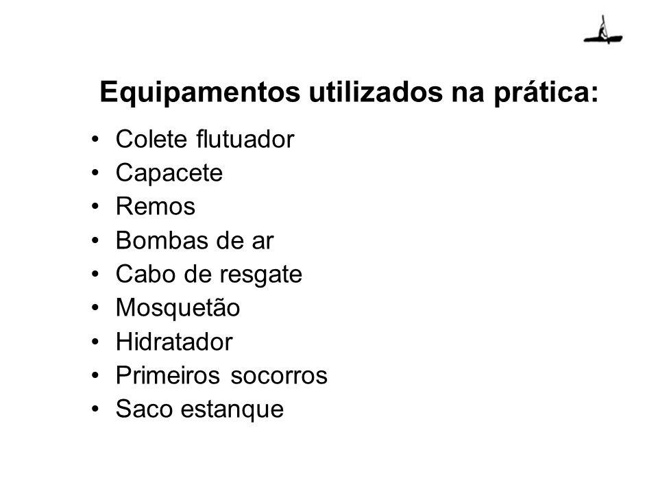 Equipamentos utilizados na prática: Colete flutuador Capacete Remos Bombas de ar Cabo de resgate Mosquetão Hidratador Primeiros socorros Saco estanque