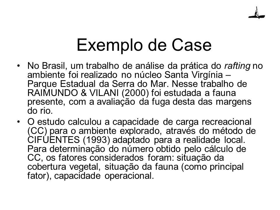Exemplo de Case No Brasil, um trabalho de análise da prática do rafting no ambiente foi realizado no núcleo Santa Virgínia – Parque Estadual da Serra
