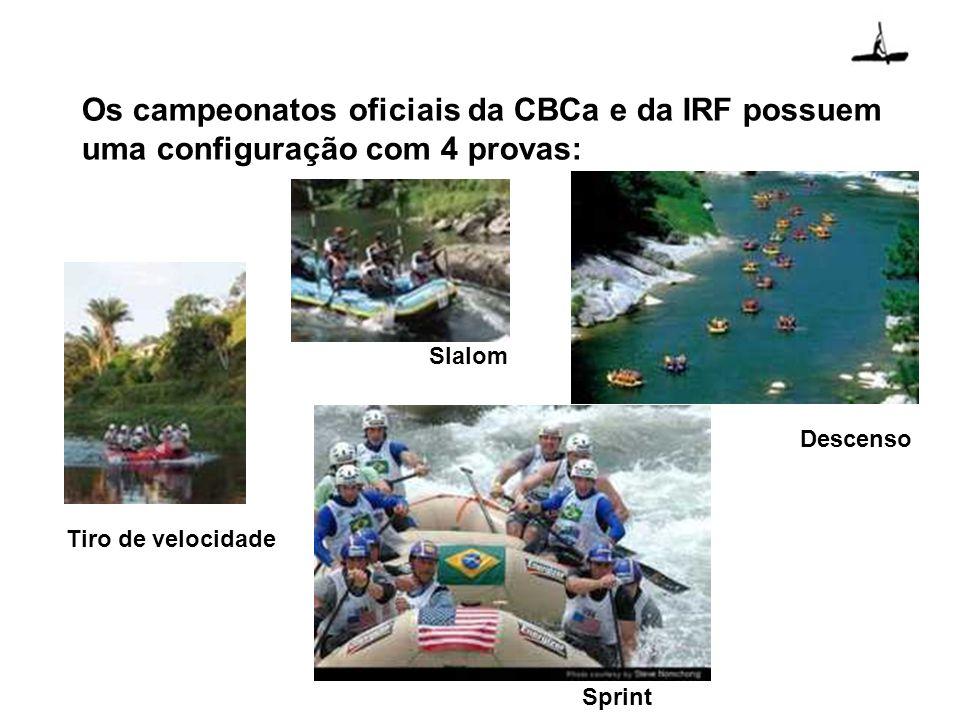 Os campeonatos oficiais da CBCa e da IRF possuem uma configuração com 4 provas: Descenso Tiro de velocidade Slalom Sprint