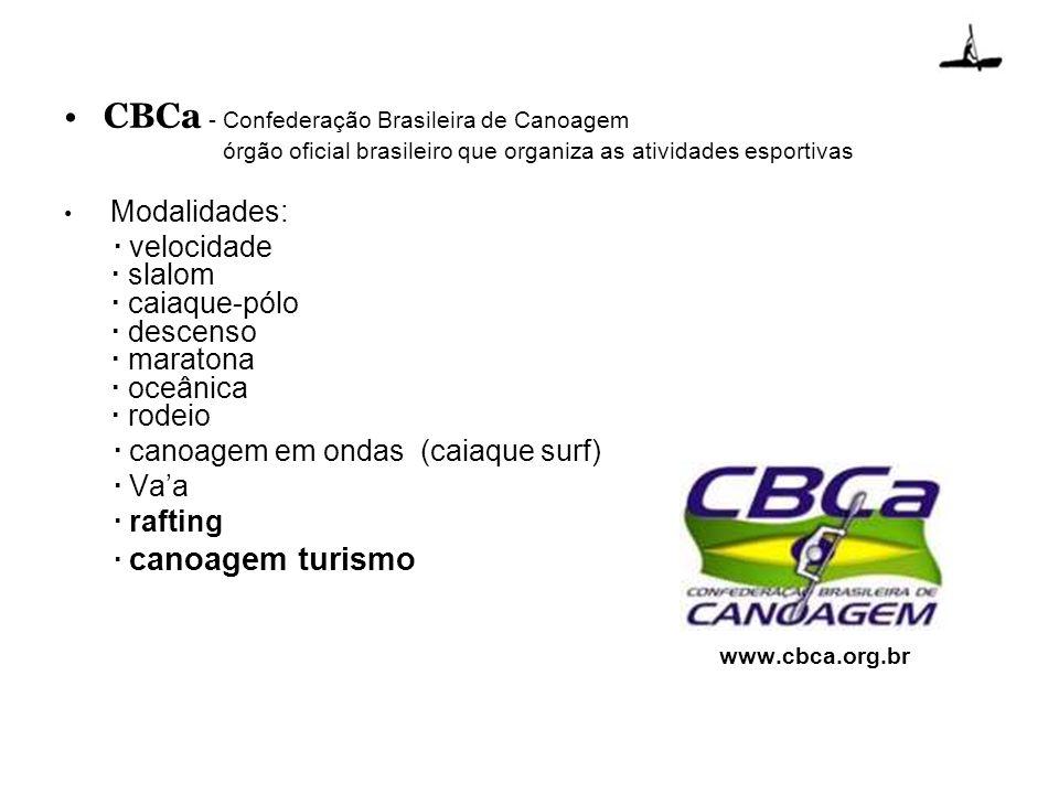 CBCa - Confederação Brasileira de Canoagem órgão oficial brasileiro que organiza as atividades esportivas Modalidades: · velocidade · slalom · caiaque
