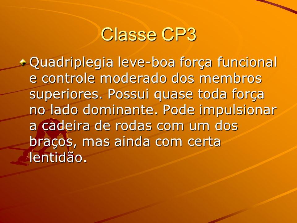 Classe CP3 Quadriplegia leve-boa força funcional e controle moderado dos membros superiores. Possui quase toda força no lado dominante. Pode impulsion