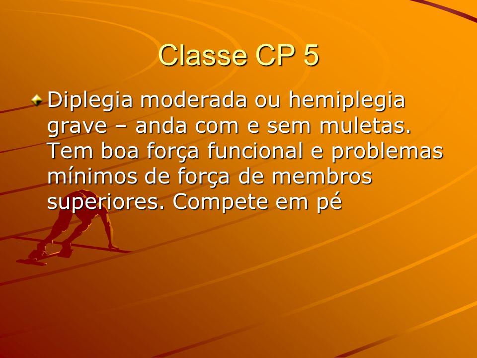 Classe CP 5 Diplegia moderada ou hemiplegia grave – anda com e sem muletas. Tem boa força funcional e problemas mínimos de força de membros superiores