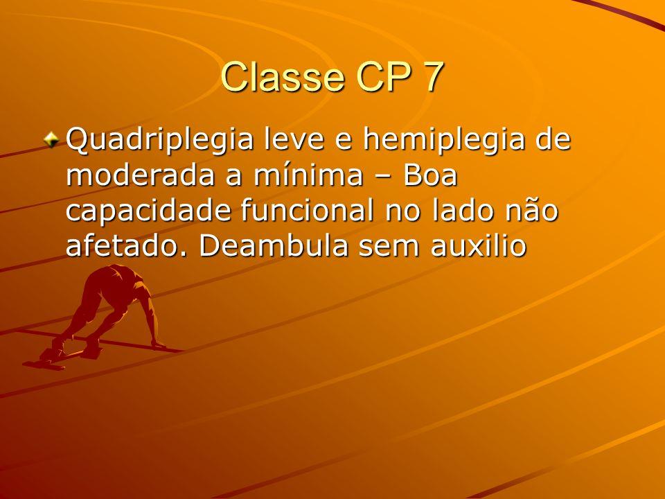 Classe CP 7 Quadriplegia leve e hemiplegia de moderada a mínima – Boa capacidade funcional no lado não afetado. Deambula sem auxilio