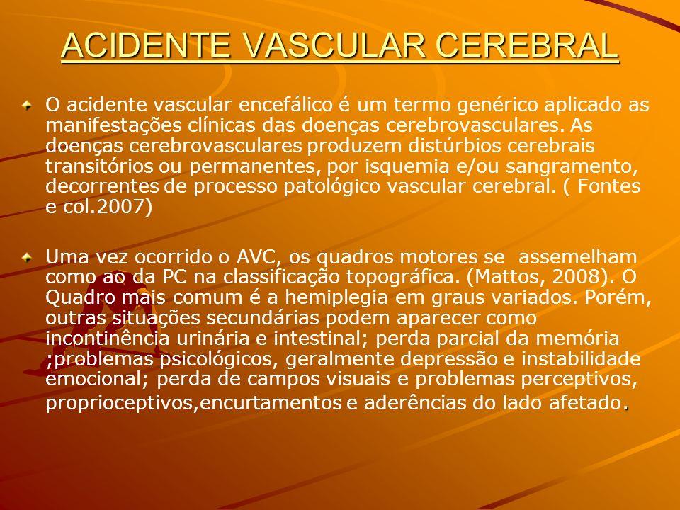 ACIDENTE VASCULAR CEREBRAL O acidente vascular encefálico é um termo genérico aplicado as manifestações clínicas das doenças cerebrovasculares. As doe