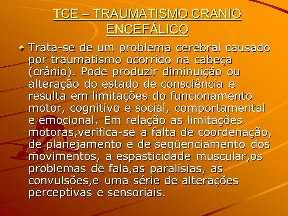 TCE – TRAUMATISMO CRANIO ENCEFÁLICO Trata-se de um problema cerebral causado por traumatismo ocorrido na cabeça (crânio). Pode produzir diminuição ou