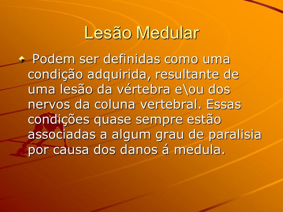 Lesão Medular Podem ser definidas como uma condição adquirida, resultante de uma lesão da vértebra e\ou dos nervos da coluna vertebral. Essas condiçõe