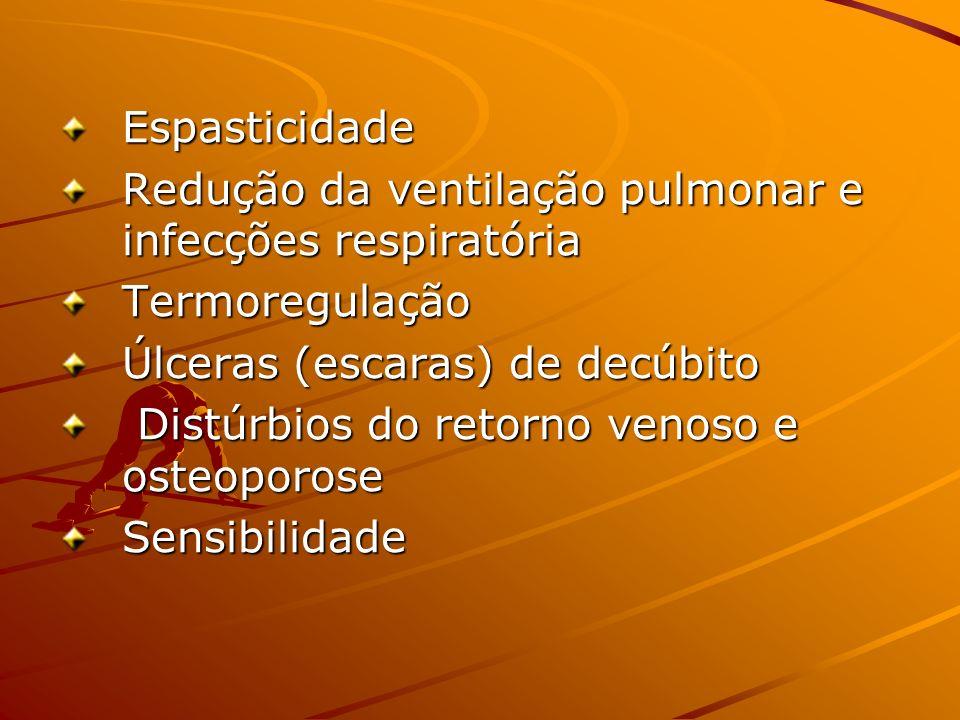 Espasticidade Redução da ventilação pulmonar e infecções respiratória Termoregulação Úlceras (escaras) de decúbito Distúrbios do retorno venoso e osteoporose Distúrbios do retorno venoso e osteoporoseSensibilidade