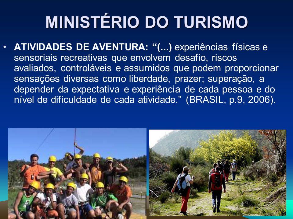 MINISTÉRIO DO TURISMO ATIVIDADES DE AVENTURA: (...) experiências físicas e sensoriais recreativas que envolvem desafio, riscos avaliados, controláveis