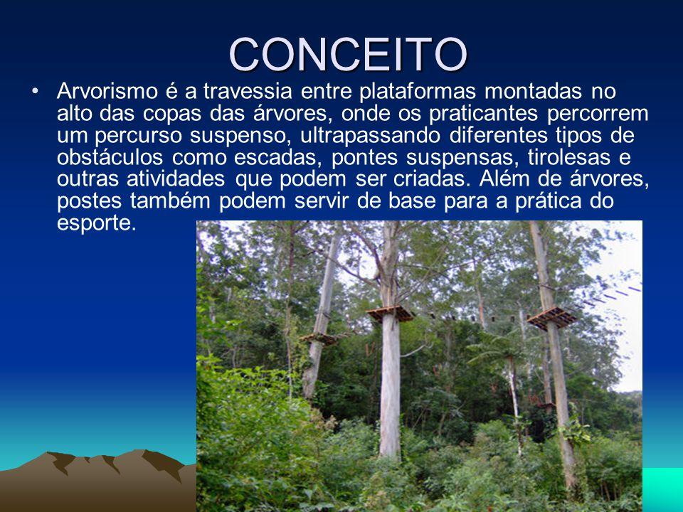 CONCEITO Arvorismo é a travessia entre plataformas montadas no alto das copas das árvores, onde os praticantes percorrem um percurso suspenso, ultrapa