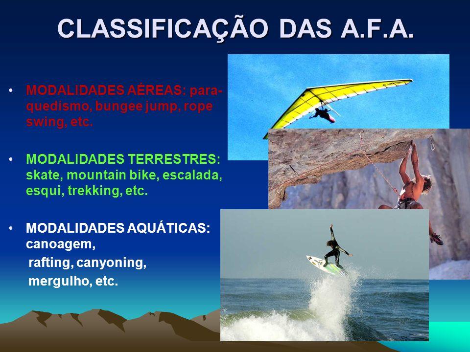 CLASSIFICAÇÃO DAS A.F.A. MODALIDADES AÉREAS: para- quedismo, bungee jump, rope swing, etc. MODALIDADES TERRESTRES: skate, mountain bike, escalada, esq