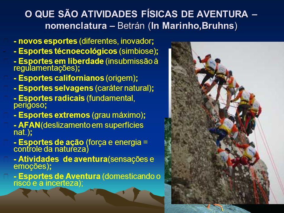 O QUE SÃO ATIVIDADES FÍSICAS DE AVENTURA – nomenclatura – Betrán (In Marinho,Bruhns) - novos esportes (diferentes, inovador; -- Esportes técnoecológic