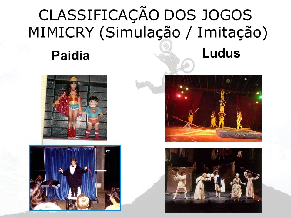 CLASSIFICAÇÃO DOS JOGOS MIMICRY (Simulação / Imitação) Paidia Ludus