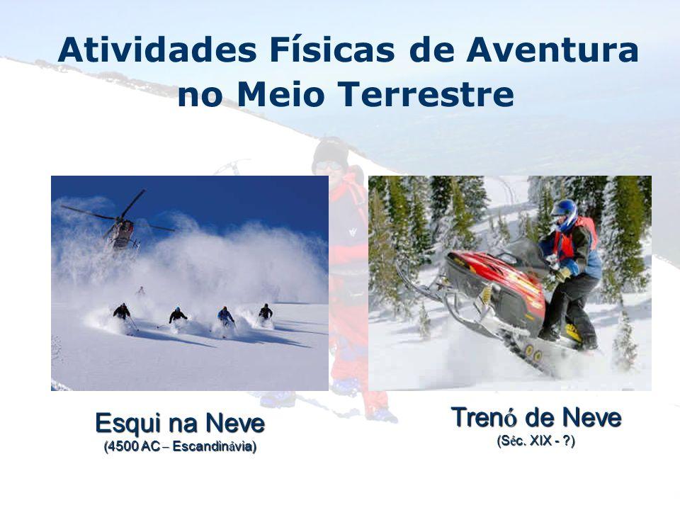 Atividades Físicas de Aventura no Meio Terrestre Esqui na Neve (4500 AC – Escandin á via) Tren ó de Neve (S é c. XIX - ?)