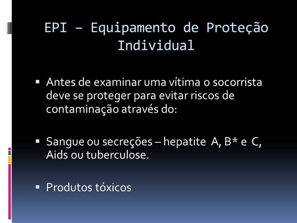 EPI – Equipamento de Proteção Individual Antes de examinar uma vítima o socorrista deve se proteger para evitar riscos de contaminação através do: San